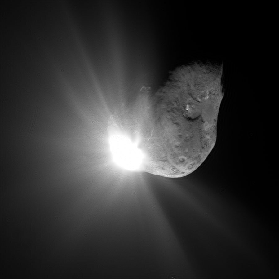 NASA's Deep Impact hitting a comet