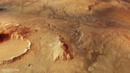Perspective view of ancient river valley network on Mars