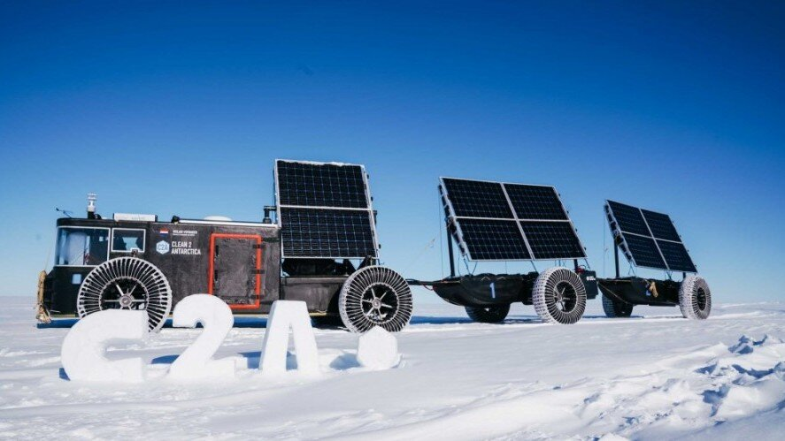 Recycled solar powered car in Antarctica