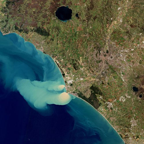Sediment plume at sea
