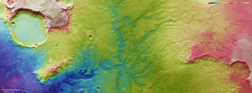 Topographic view of dried out river valley network on Mars