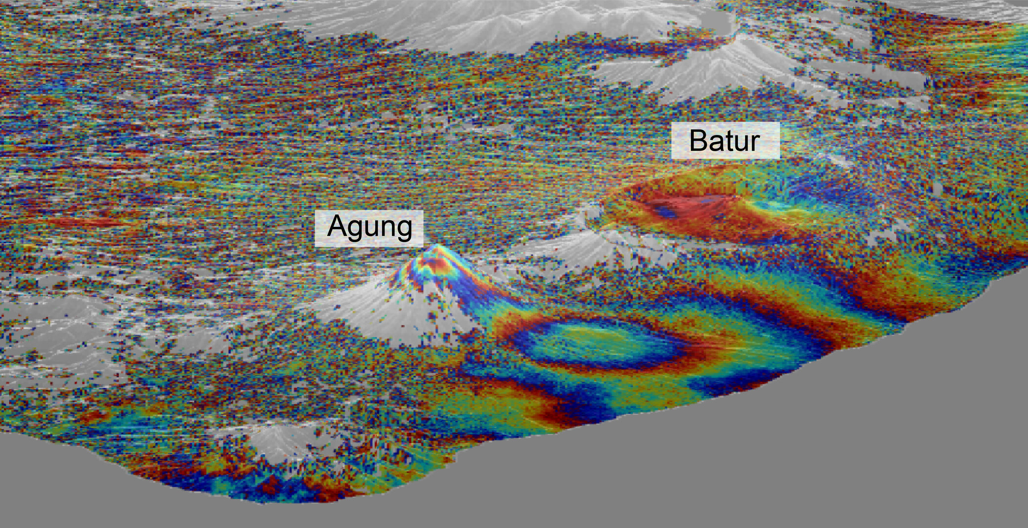 Sentinel-1 data shows ground uplift around Bali's Mount Agung volcano. The uplift occurred just before an eruption, which was preceded by several small earthquakes. Ground motion indicates that fresh magma is moving beneath the volcano – a sign of an upcoming eruption.
