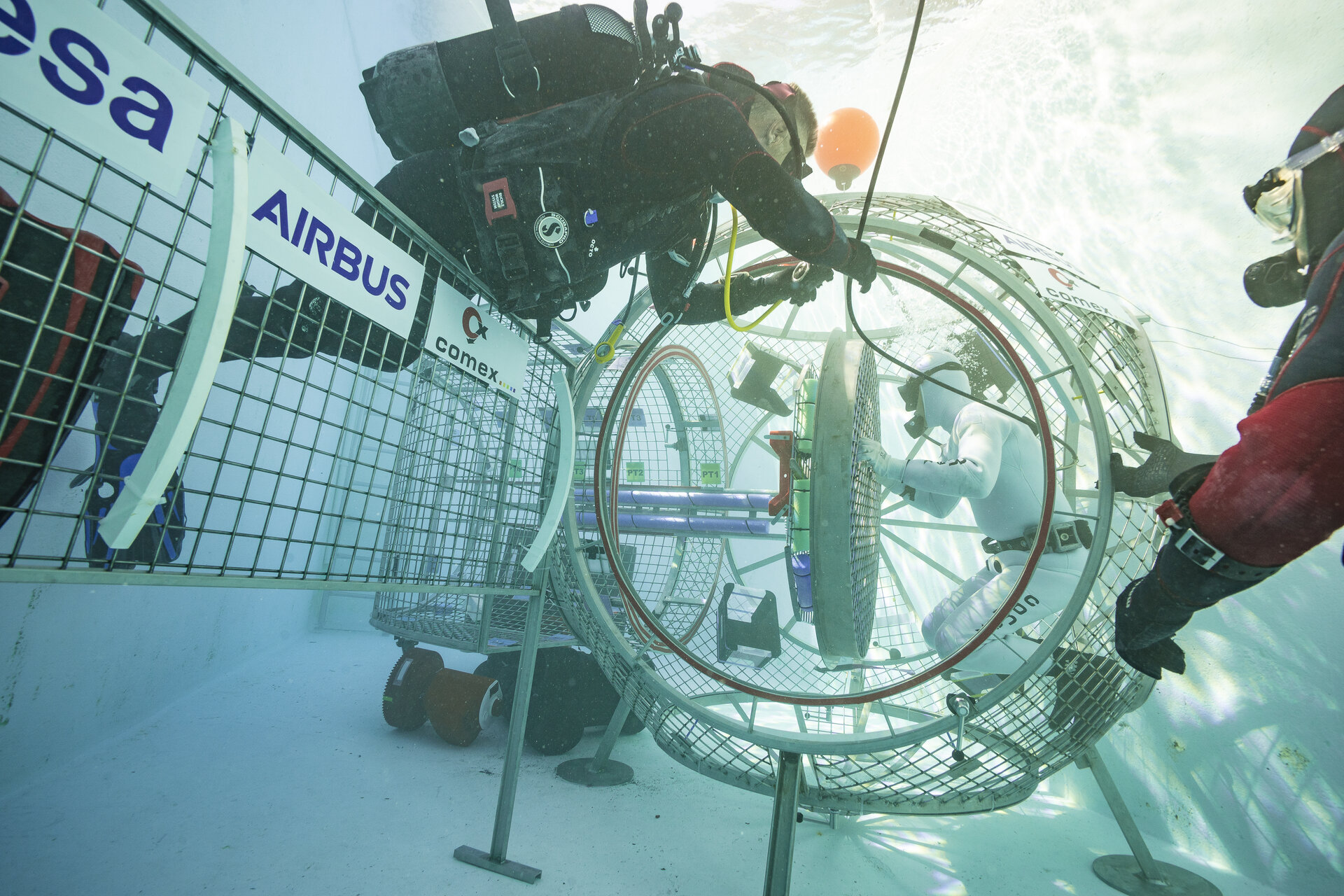 Underwater testing of an airlock design for the new Gateway station near the Moon.