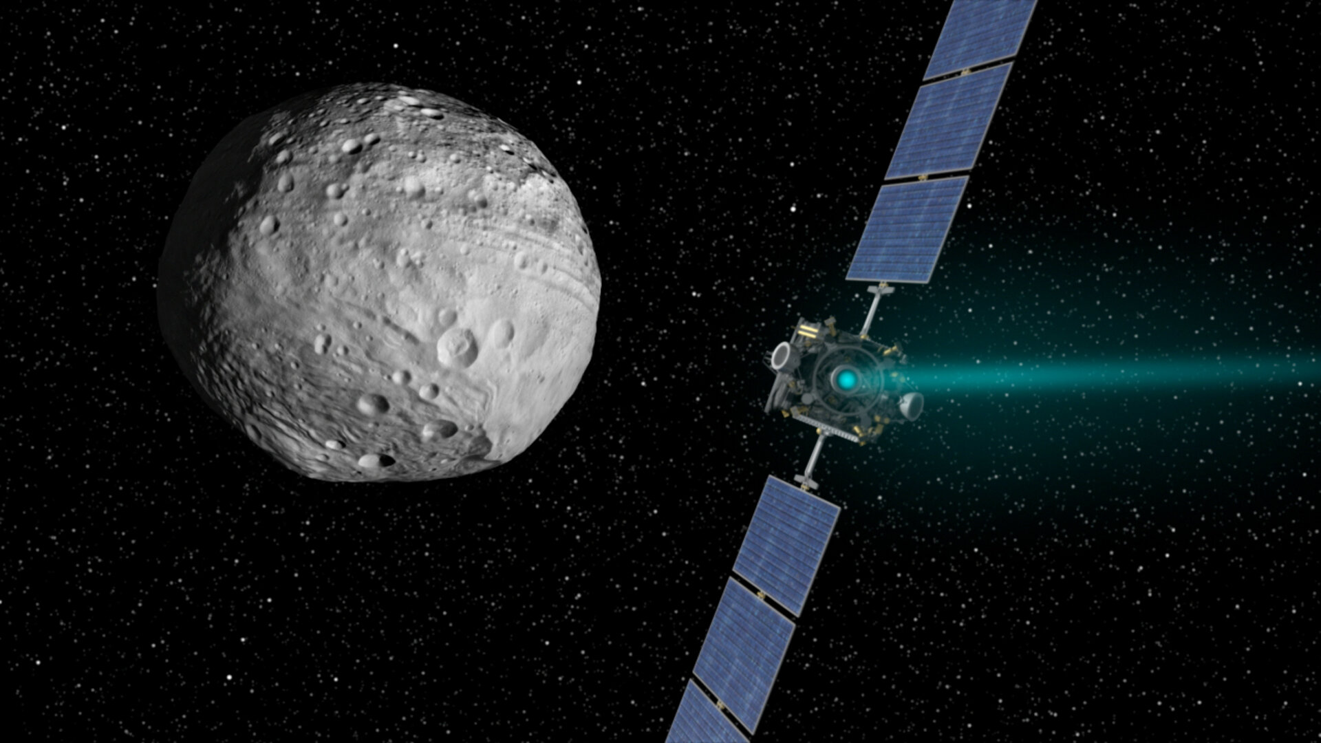 Dawn spacecraft at Vesta