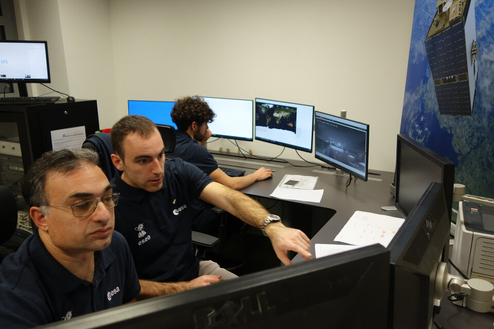 ESEO mission Control Center - ESA and ESEO student operators monitoring ESEO