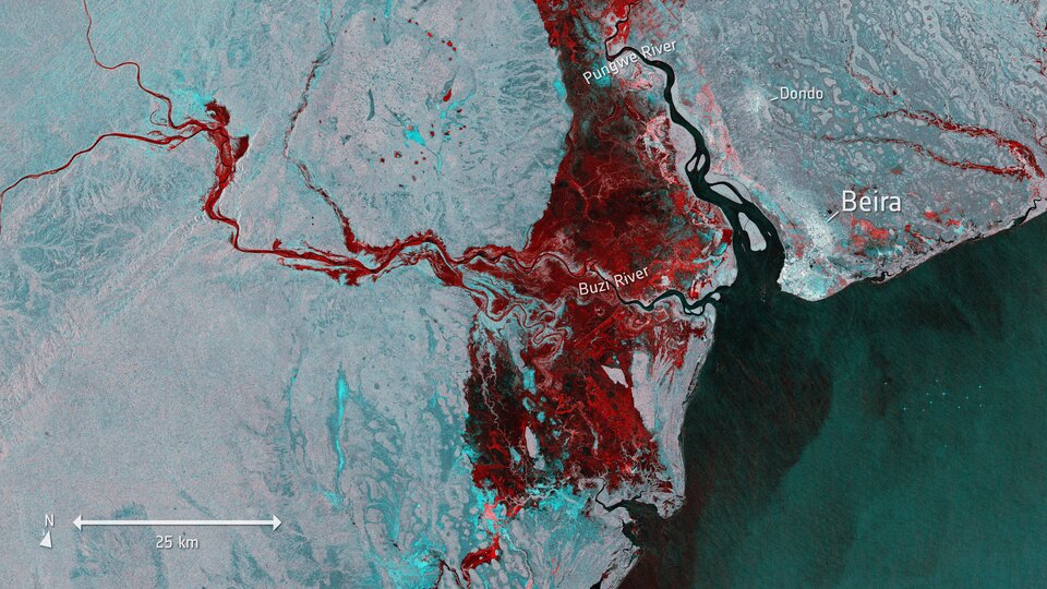 Flooding in Mozambique after Cyclone Idai hit, imaged by the Copernicus Sentinel-1 mission.