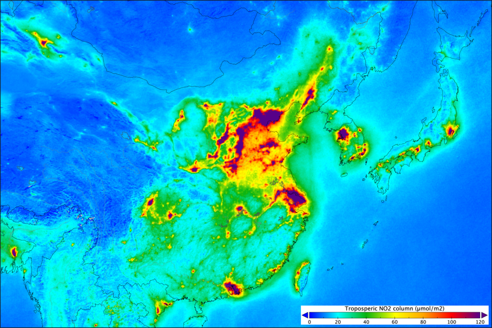 Nitrogen dioxide levels over China and Japan