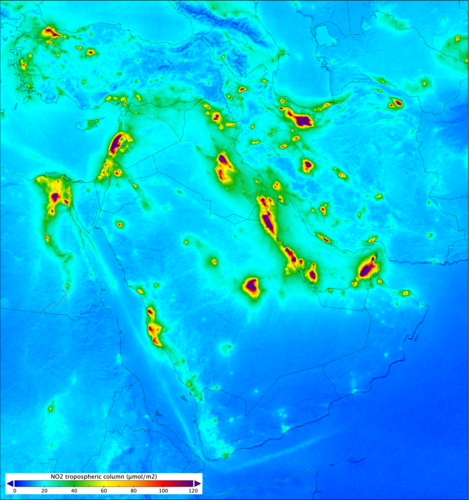 Nitrogen dioxide levels over the Middle East