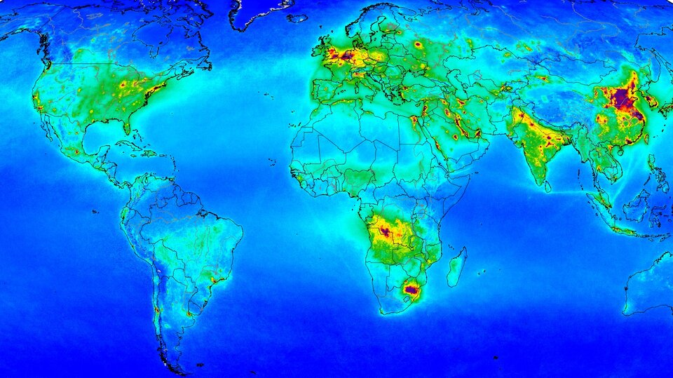 Measurements gathered by Copernicus Sentinel-5P show nitrogen dioxide in the atmosphere, revealing major shipping routes