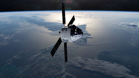 Orion and European Service Module orbiting Earth