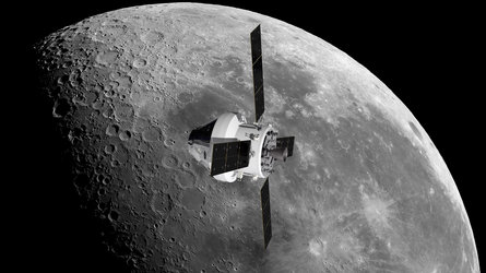 Orion and European Service Module orbiting the Moon