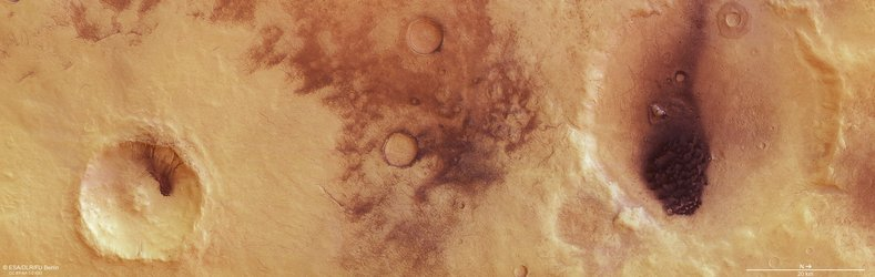 Plan view of the dust devils of Chalcoporos Rupes