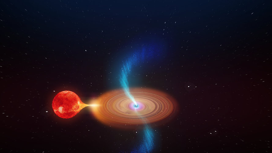 Black hole accreting material from its companion star