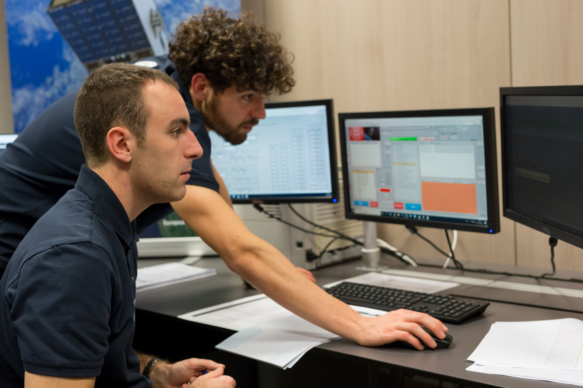 ESEO mission Control Center - ESEO student operators monitoring ESEO
