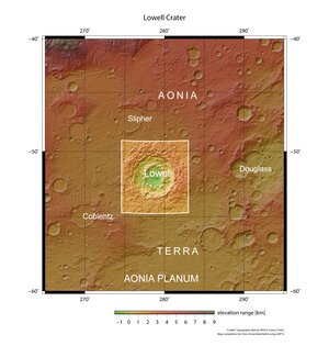 Lowell crater in context
