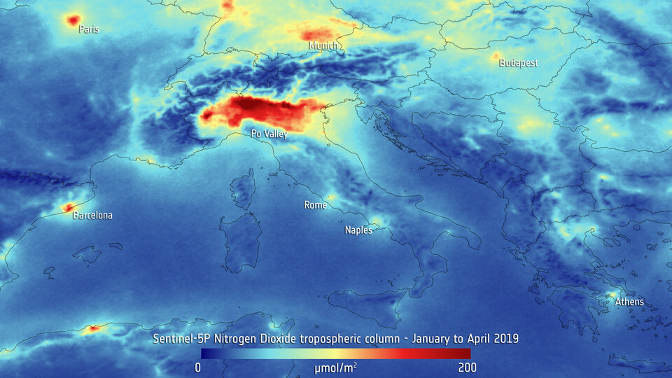 Nitrogen dioxide over northern Italy