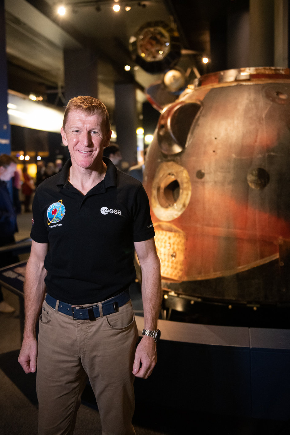 Tim Peake with the Soyuz descent module at the Science Museum in London