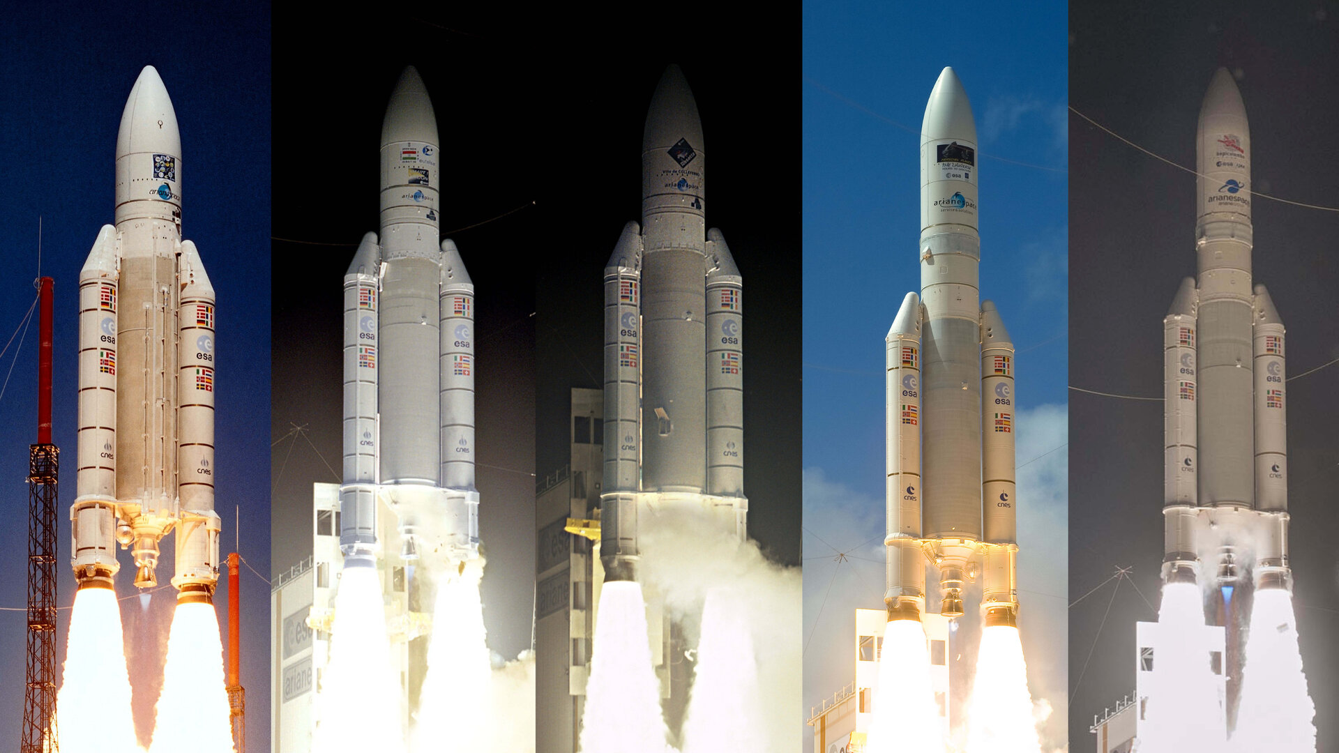 Ariane 5 launchers with science missions onboard