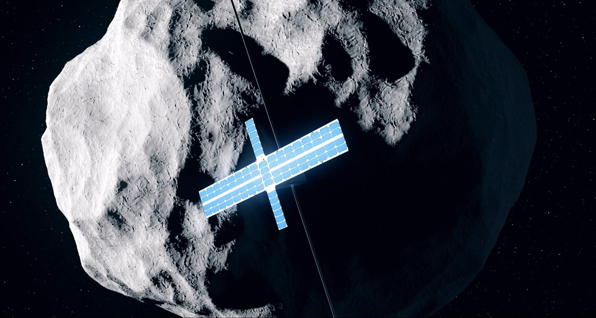 CubeSat approaching asteroid