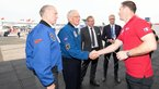 [19/32] ESA astronaut Thomas Pesquet welcomes three Apollo astronauts to the ESA stand at Le Bourget