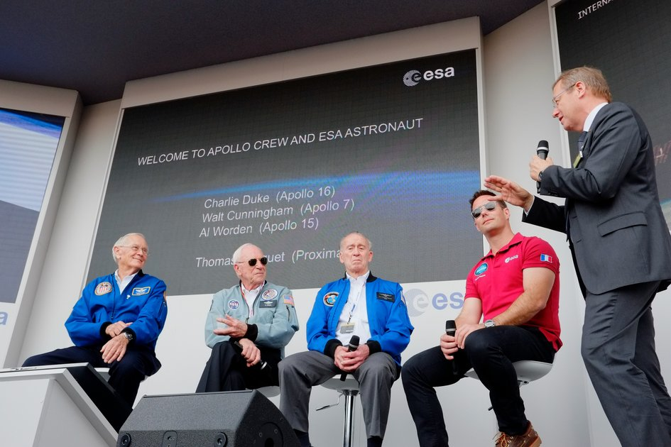 ESA DG Jan Wörner, ESA astronaut Thomas Pesquet and three Apollo astronauts