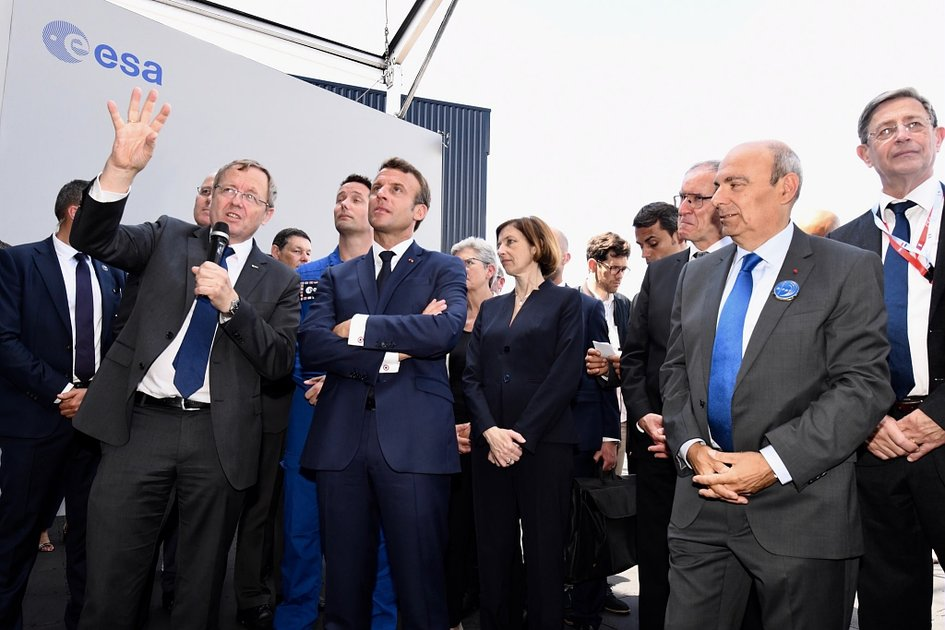 French President Emmanuel Macron visits the ESA stand at Le Bourget 2019