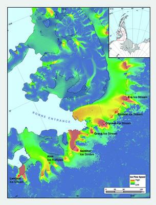 Antarctic glaciers named after satellites
