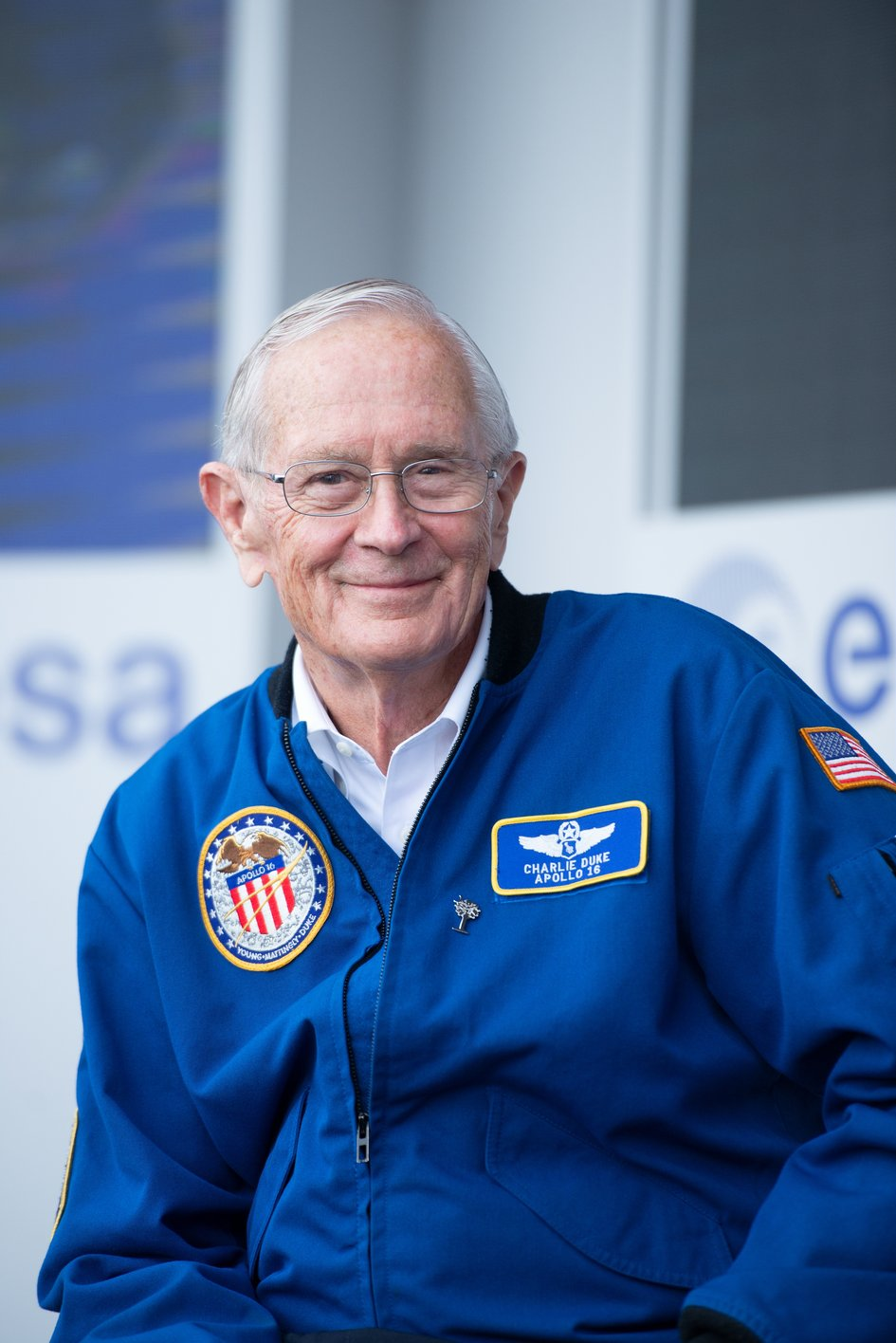 NASA Apollo astronaut Charlie Duke on the ESA stand at Le Bourget