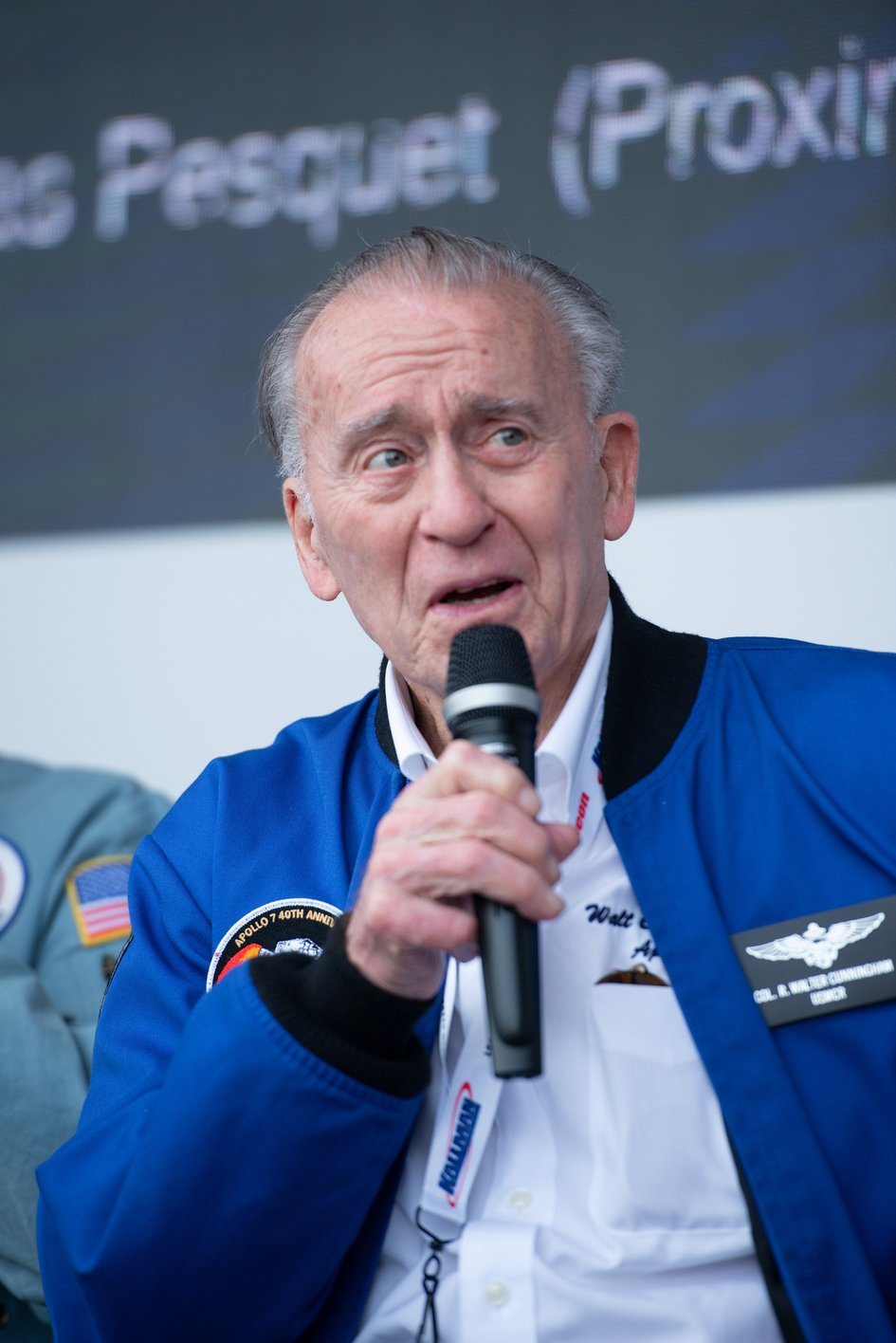 NASA Apollo astronaut Walt Cunningham on the ESA stand at Le Bourget