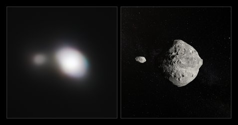 Side by side observation and artist's impression of Asteroid 1999 KW4