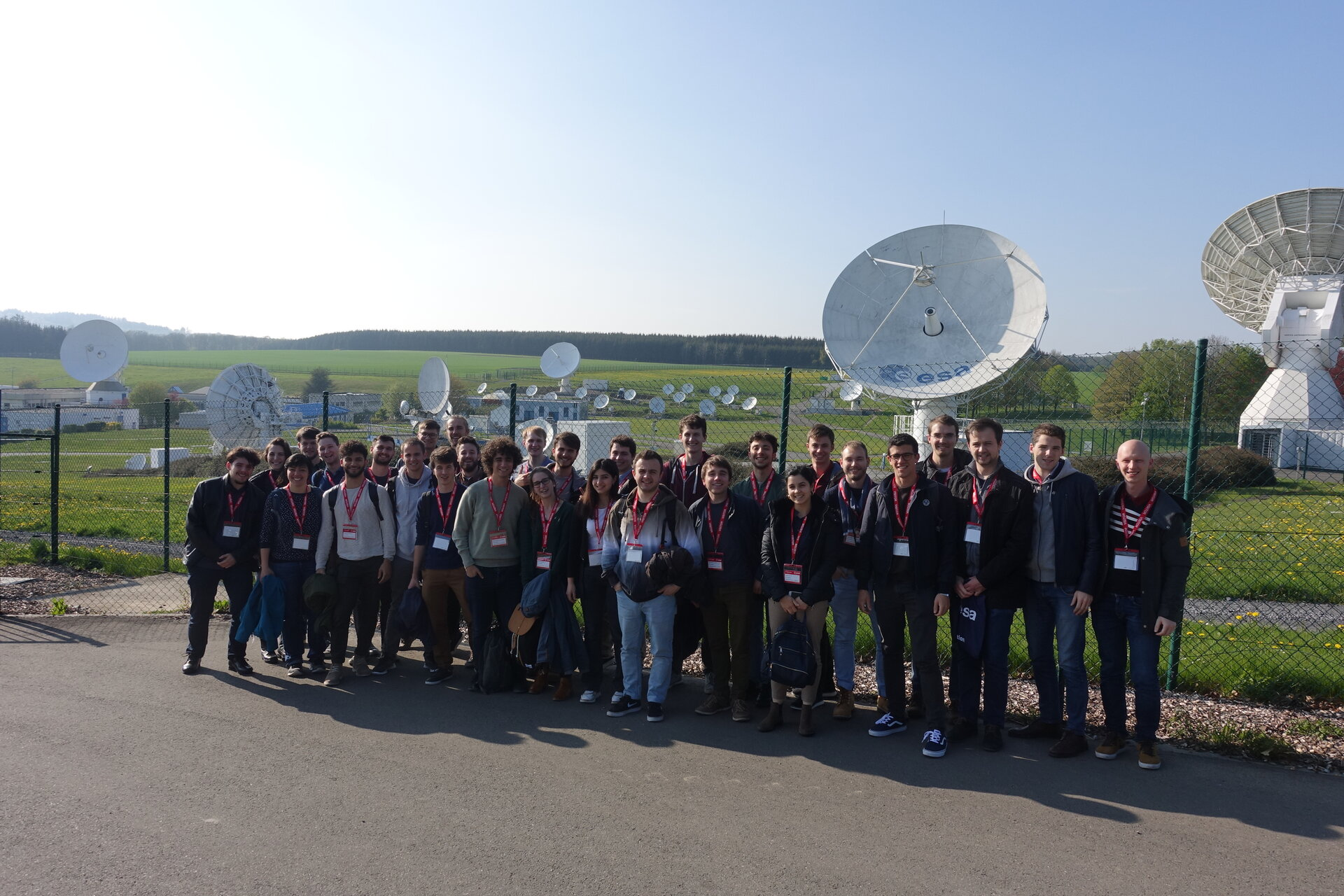 The students visiting the ground station ESEC-Redu