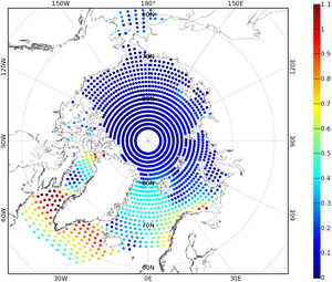 Amplitude of the main tidal component in the Arctic Ocean