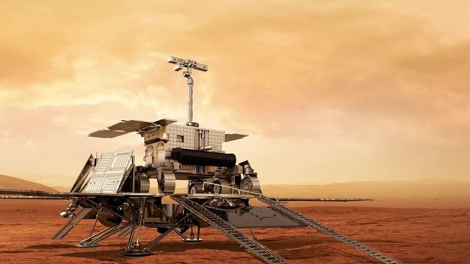 ExoMars rover on surface platform