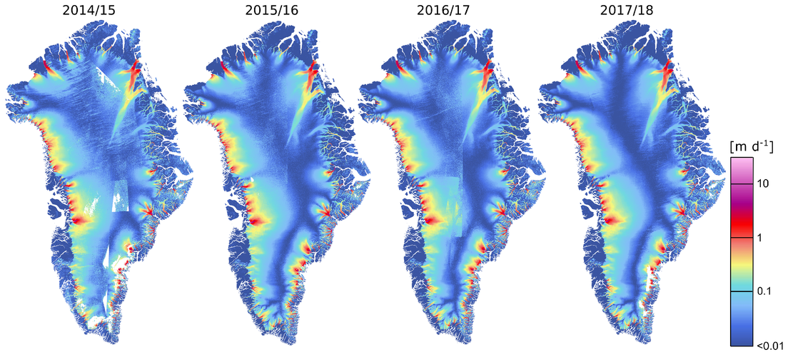 Ice velocity maps of Greenland