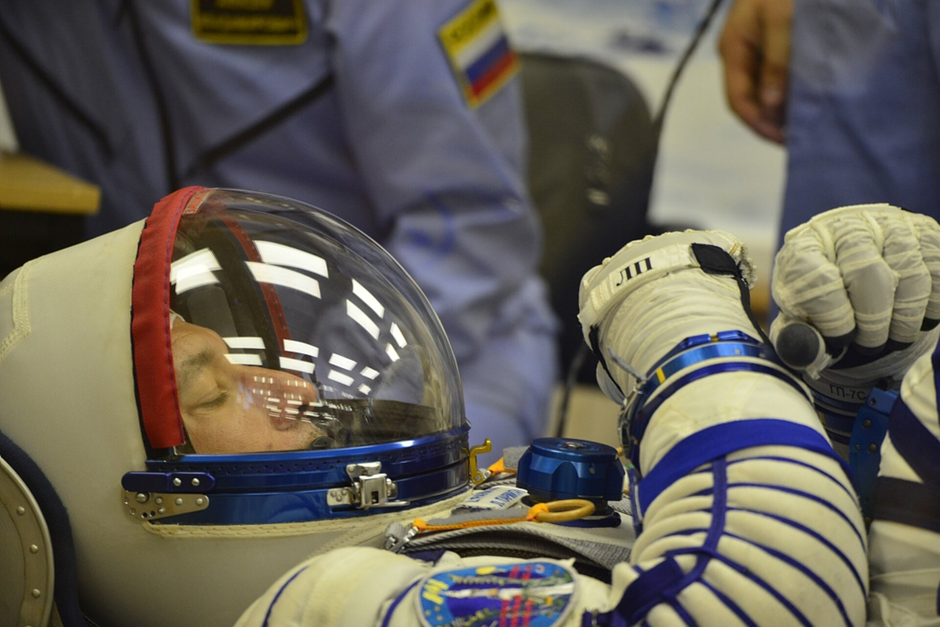 Luca Parmitano in his Sokol spacesuit