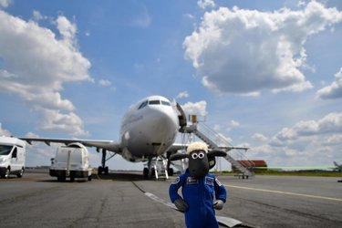 Shaun the Sheep prepares to board ESA parabolic flight aircraft