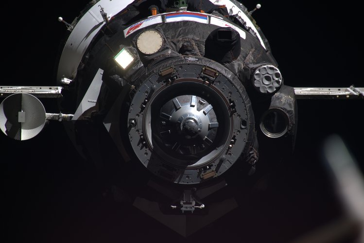 Soyuz Ms-13 spacecraft approaching the International Space Station