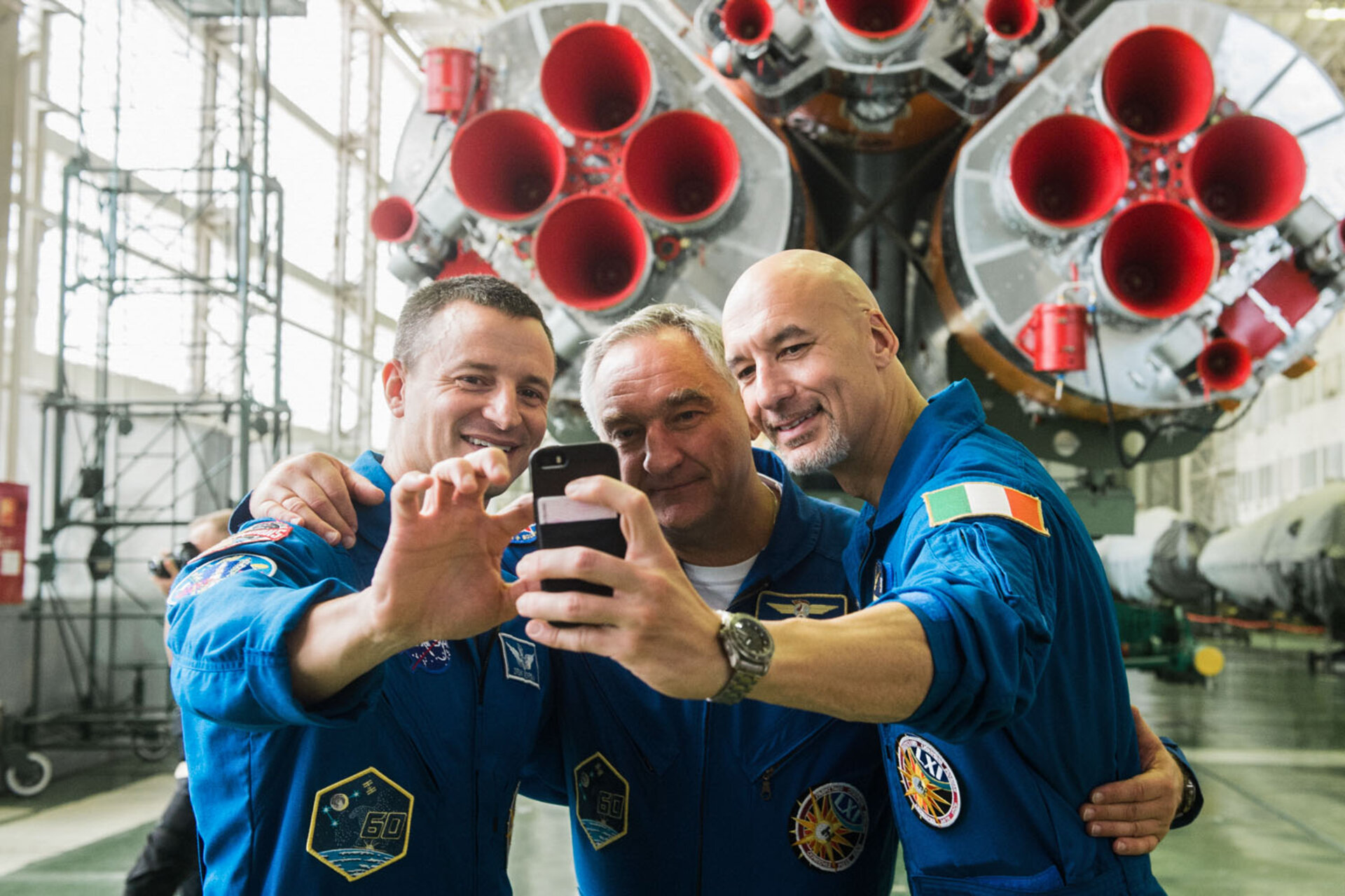 Luca, Drew and Alexander take a selfie with their Soyuz spacecraft