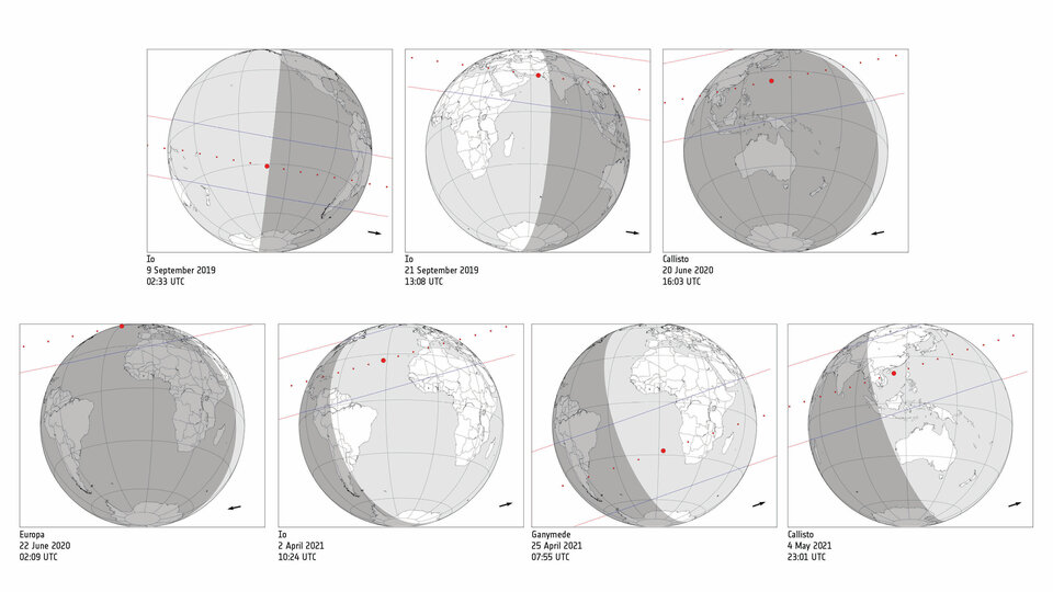 Upcoming stellar occultations by Jupiter's four largest moons