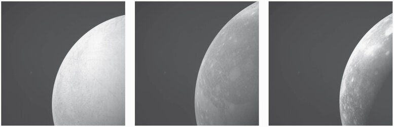 Simulated NavCam views of Jupiter moons