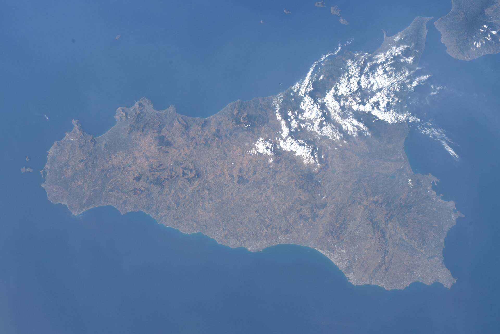 A photo of Sicily, Italy captured by ESA astronaut Luca Parmitano