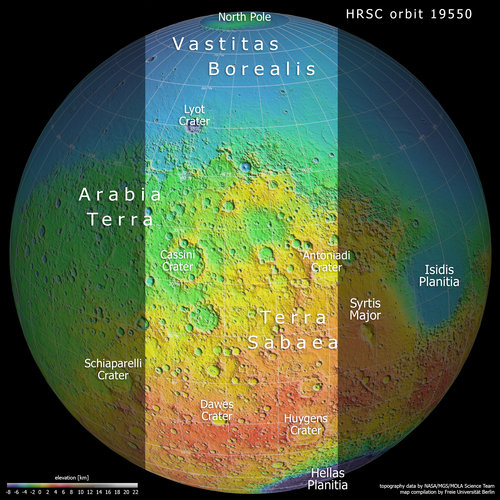 A slice of Mars in topographic context: Terra Sabaea and Arabia Terra