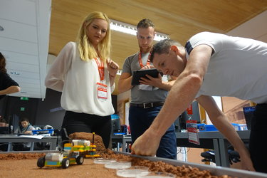 Teachers explore Mars for a suitable location to construct their base