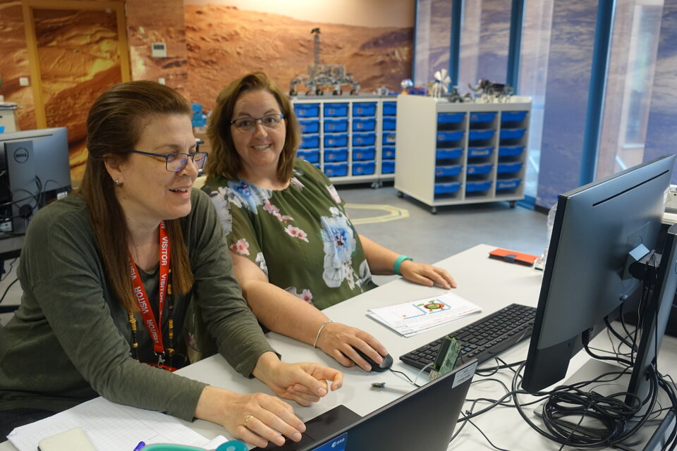 Primary school teachers programming Raspberry Pi for the Astro-pi mission.