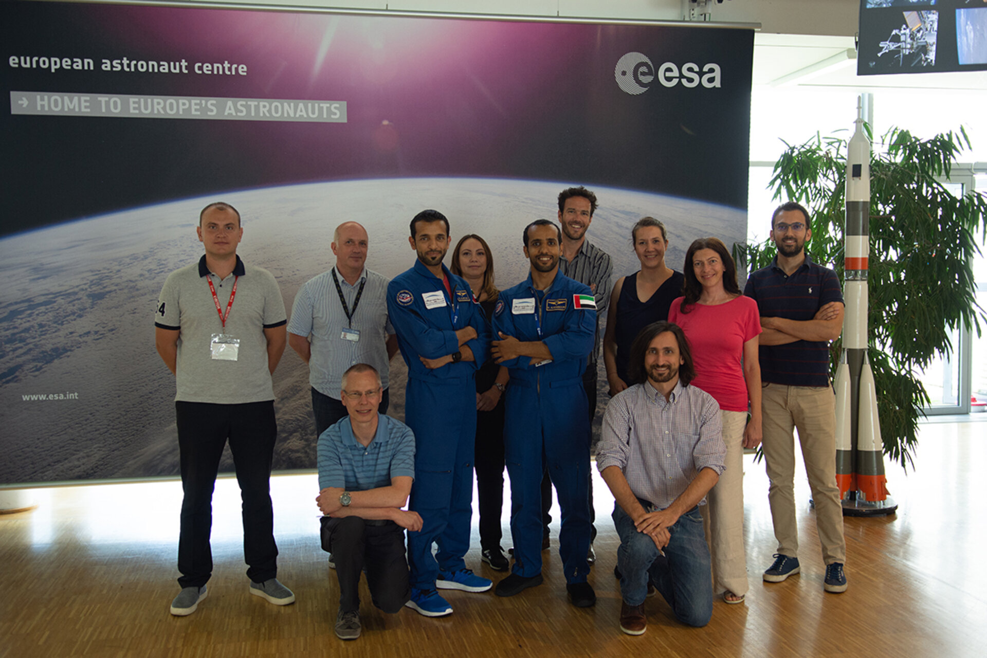 UAE astronauts with instructors at ESA's astronaut centre in Germany