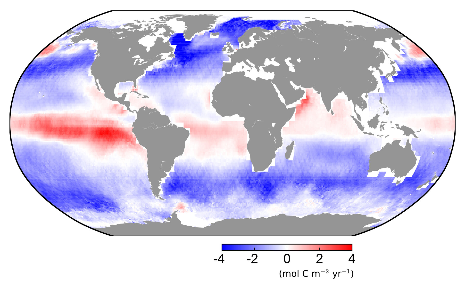 Carbon dioxide flow between atmosphere and ocean