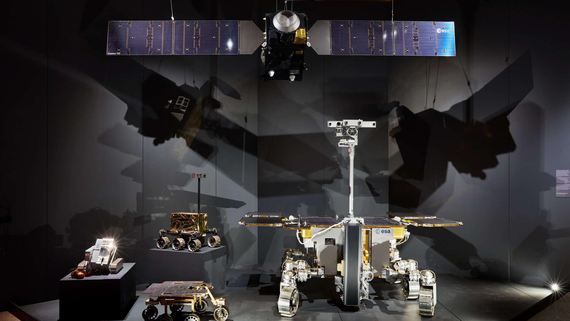 Models including a full-scale version of the Rosalind Franklin rover that is due to land on Mars in 2021