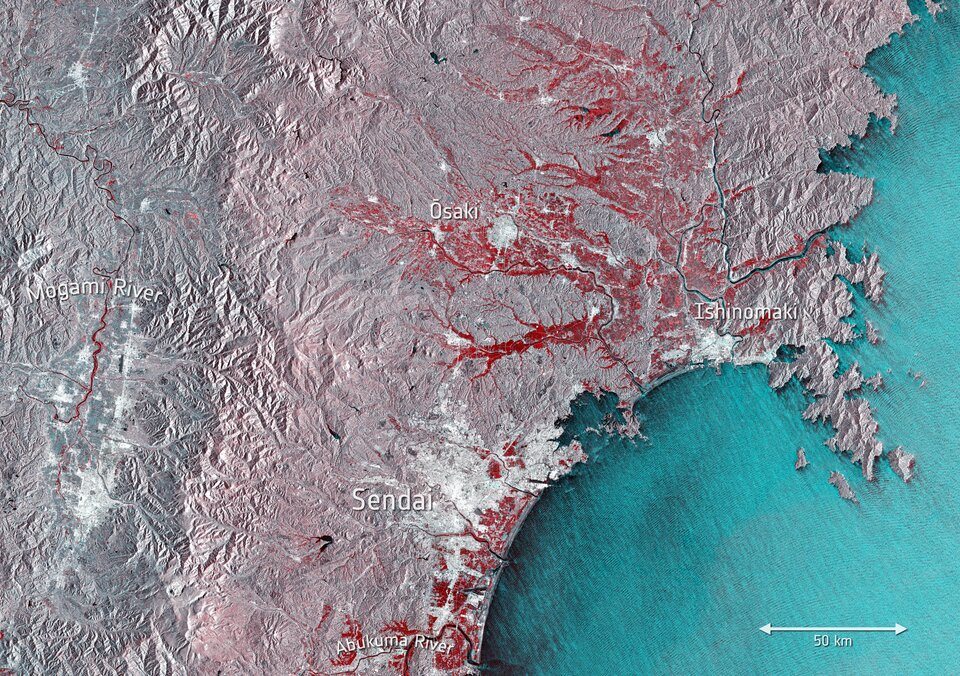 Floods northeast of Tokyo captured by the Copernicus Sentinel-1