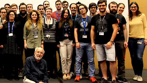 Michel Mayor with early career scientists at ESA