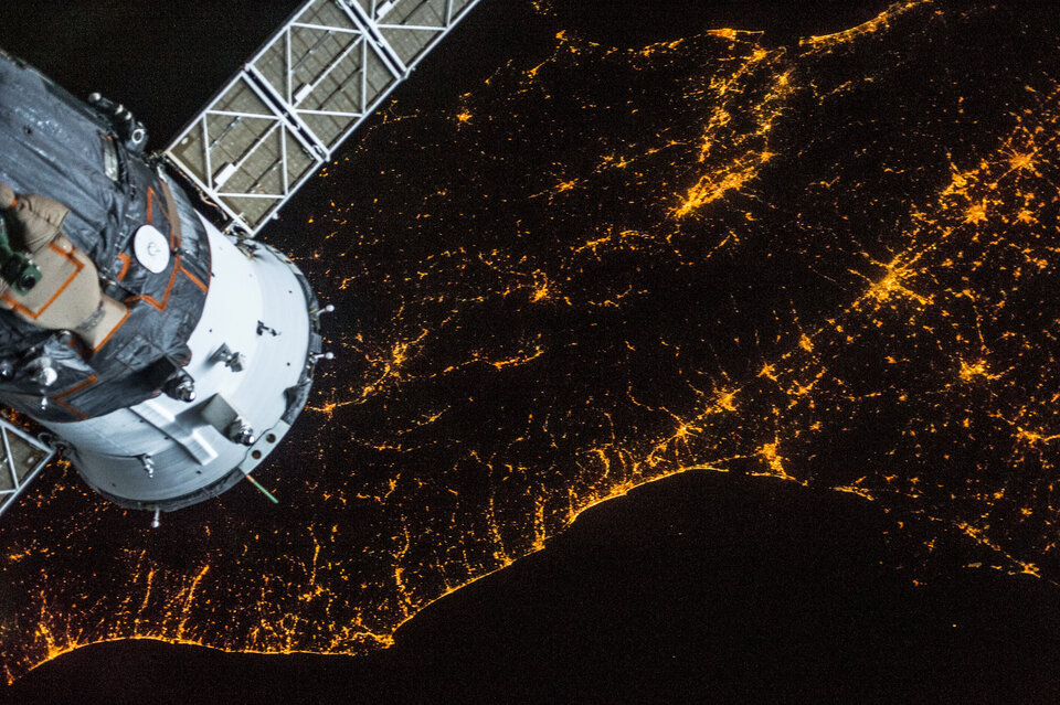 Nighttime view from space